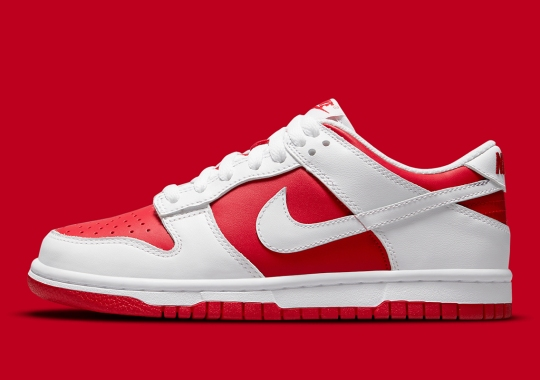 The Nike Dunk Low Flips College Colors Again With White And University Red