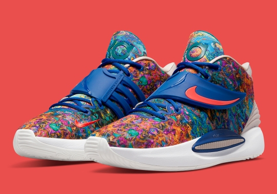 """The Nike KD 14 """"Deep Royal"""" Features Psychedelic Patterned Uppers"""
