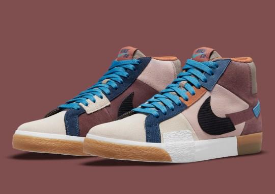 "The Latest Nike SB Blazer Mid ""Mosaic"" Mixes Blues And Earth Tones"