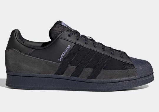 The adidas Superstar Goes All Black With Suede Mudguards