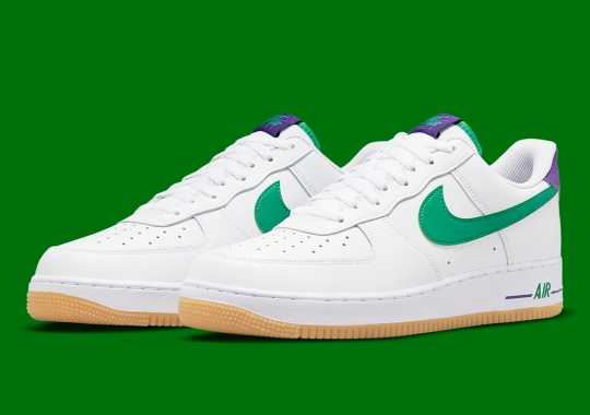 Green And Purple Pair Up To Accent A Gum-Soled Nike Air Force 1