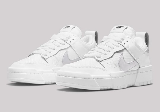 Sleek White And Metallic Silver Converge On This Latest Nike Dunk Low Disrupt