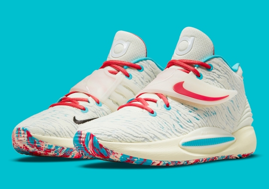 """The Nike KD 14 """"Aquafresh"""" Combines Soothing Sail With The Familiar Minty Combo"""