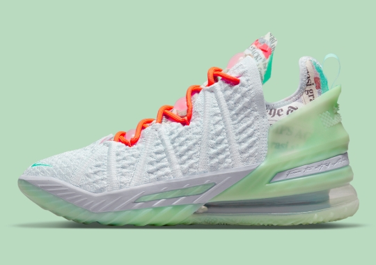"""This Nike LeBron 18 """"G.O.A.T."""" Features News Headlines From King James' Career"""