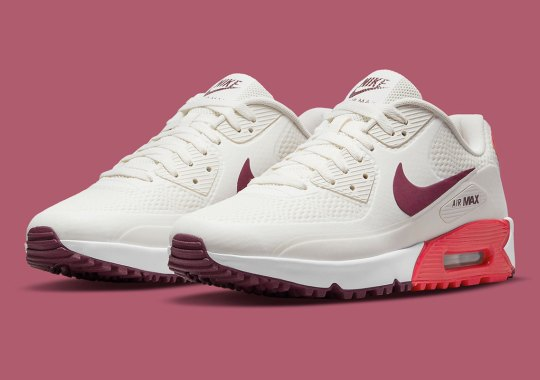 """""""Fusion Red"""" And """"Dark Beetroot"""" Touches Dress Up The Nike Air Max 90 Golf"""