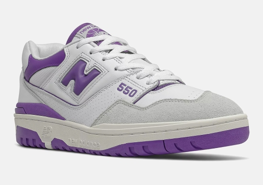 The New Balance 550 Sees Purple On A Classic White/Tan Base