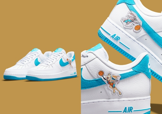 """Bugs And Lola Cover The Swoosh On The Upcoming """"Space Jam"""" x Nike Air Force 1 """"Hare"""""""
