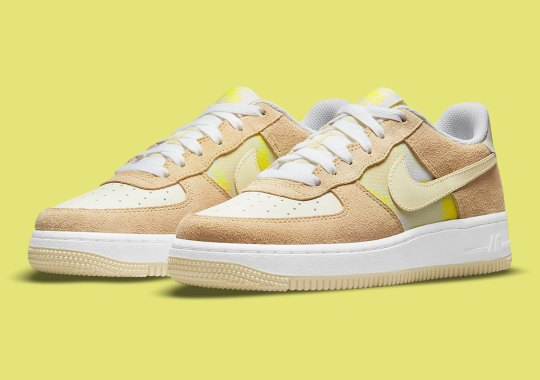 """Tan Suede Overlays Appear On This Nike Air Force 1 Low """"Lemon Drop"""""""