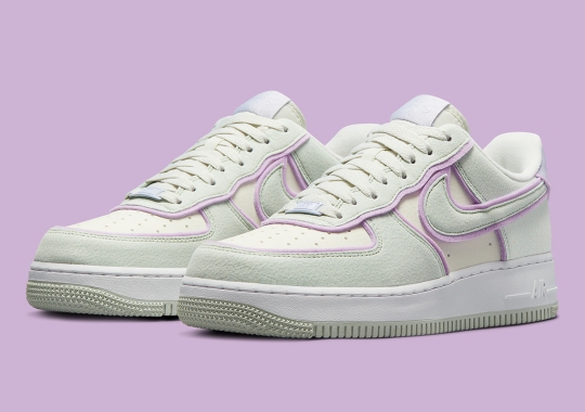 """Soft Felt Exteriors Cover The Nike Air Force 1 Low """"Sea Glass"""""""
