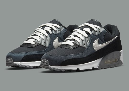 Suede, Canvas, And Leather Materials Make Up This Nike Air Max 90 In Black And Grey