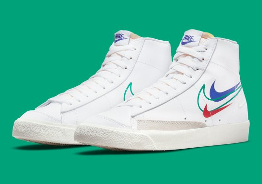 """Olympic Colors And Multiple Swooshes Land On The """"Summer Of Sport"""" Nike Blazer Mid '77"""