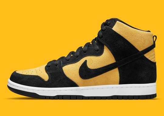"""Nike SB Joins The Black And Yellow Fun With The Dunk High """"Reverse Goldenrod"""""""