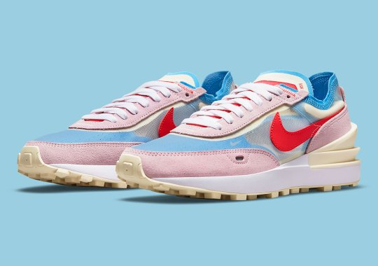The Women's Nike Waffle One Contrasts Muted Pastels With A Vibrant Red/Blue Combo