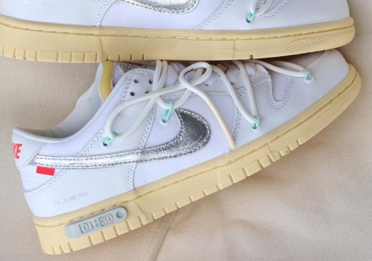 Off-White x Nike Dunk Low Revealed In White And Silver