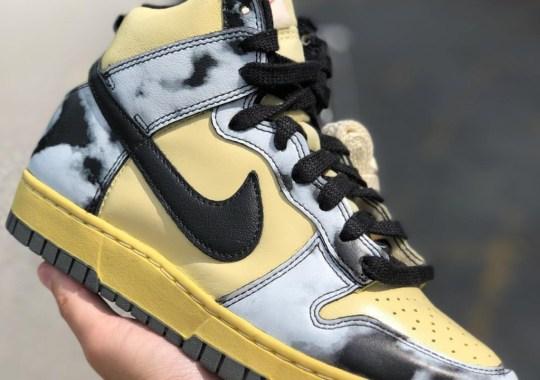 "Nike Dunk High ""Acid Wash"" Accompanied By Yellowed Leather"