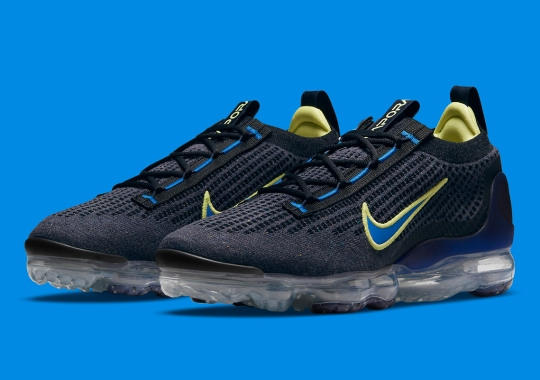 The Nike Vapormax Flyknit 2021 Pairs Navy With Pops Of Volt