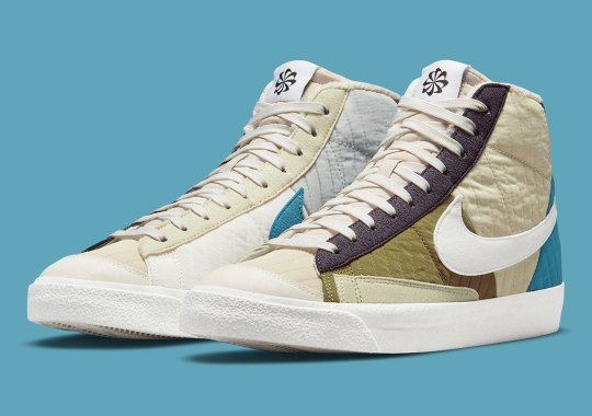 """Cozy Fleece And Quilted Fabrics Warm Up The Nike Blazer Mid '77 Premium """"Toasty"""""""