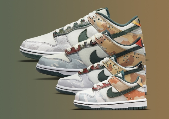 """The Nike Dunk Low SE """"Camo"""" Is Releasing In Full Family Sizes"""