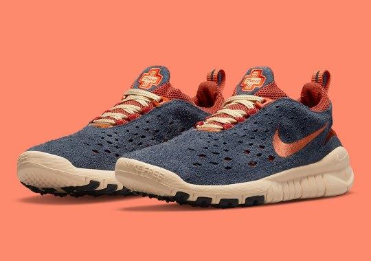"A New Nike Free Run Trail Pairs ""Thunder Blue"" With ""Cinnabar"""