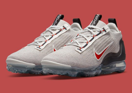 """Red Accents Brighten Up This """"Light Bone"""" Nike Vapormax Flyknit 2021"""