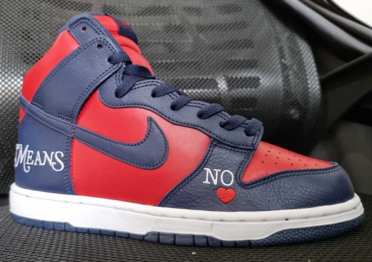 Supreme's Latest Nike Dunk High Appears In A Navy And Red Colorway