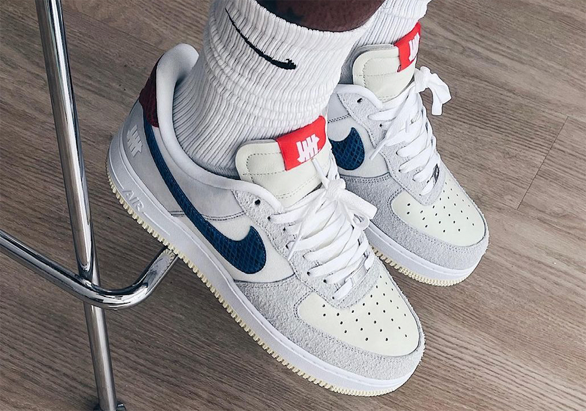 undefeated nike air force 1 low grey blue red 3