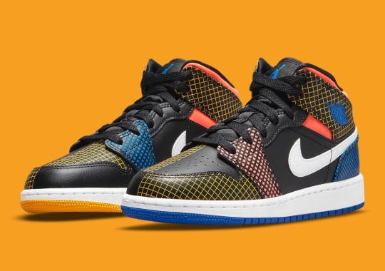 Colorful Grid Patterns Appear On This Kid's Air Jordan 1 Mid