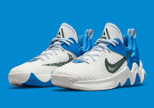 """This Big Kids' Nike Giannis Immortality Pairs """"Signal Blue"""" With """"Noble Green"""""""