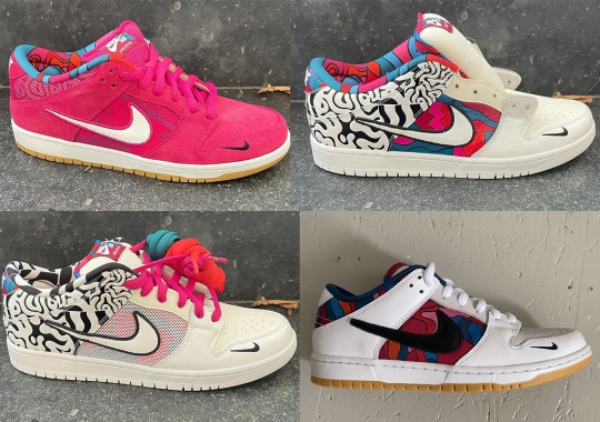 Four Different Unreleased Samples Of Parra's Nike SB Dunk Low For 2021 Are Revealed