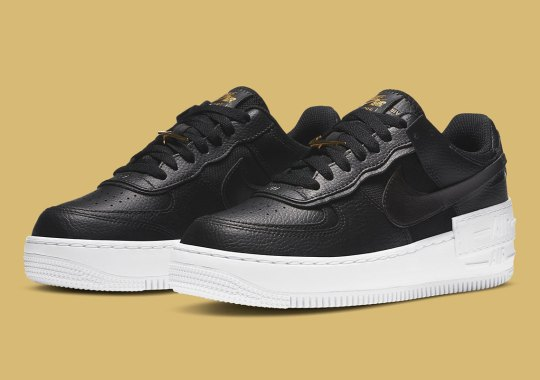 Metallic Gold Details Elevate This Black And White Nike Air Force 1 Shadow