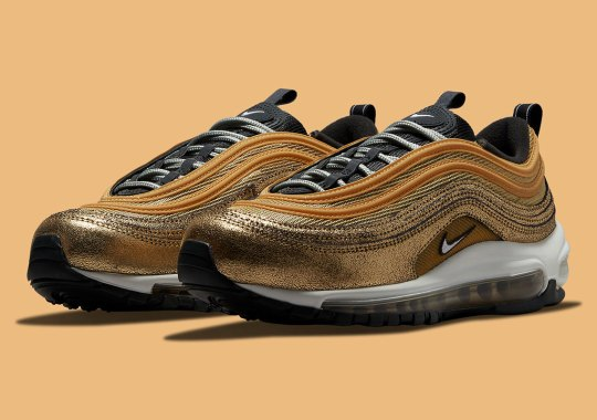 This Golden Nike Air Max 97 Utilizes Cracked Foil Leathers