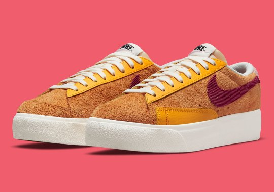 """Mars Yard"" Colors Appear On A Hairy Suede Nike Blazer Low Platform"