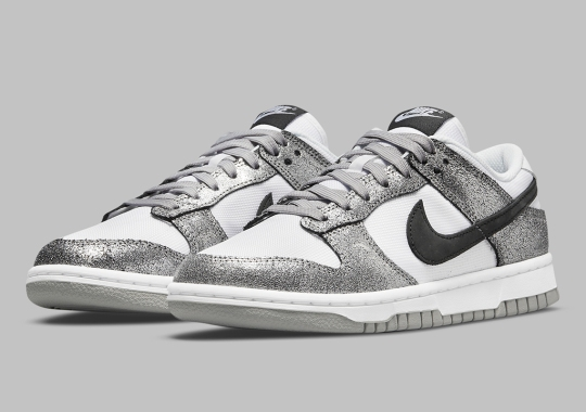 The Nike Dunk Low Features Silver Cracked Leather