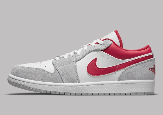 The Air Jordan 1 Low Blends Grey Suedes With Bright Red Leathers