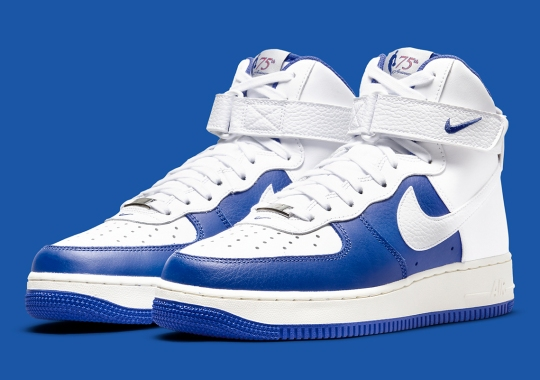 Nike Continues Their NBA Celebration With This Royal And White Air Force 1 High