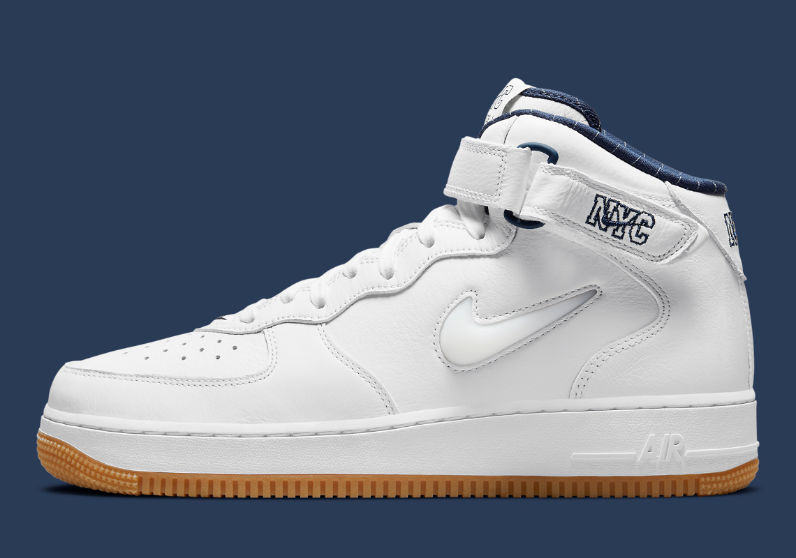 Nike Air Force 1 Mid White Navy NYC DH5622-100 | SneakerNews.com