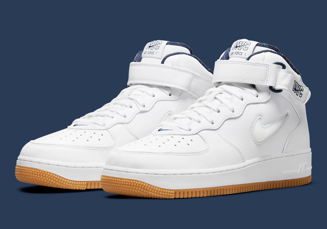 Nike Air Force 1 Mid White Navy NYC DH5622-100   SneakerNews.com