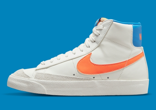 Bright Blue And Orange Appear On The Nike Blazer Mid '77