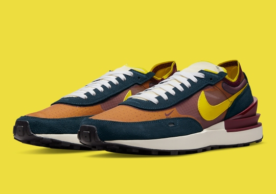 This Nike Waffle One Complements Yellow With Burgundy