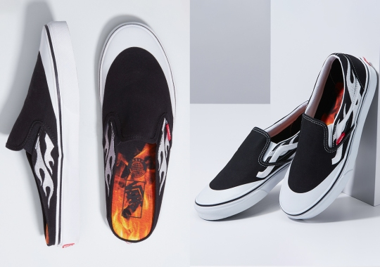 A$AP Rocky And Pacsun Offer Flame-Dressed Colorways Of The Vans Slip-On And Slip-On Mule