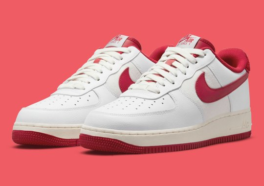 A Classic White And Red Pairing Arrives On Another Letterman Jacket-Inspired Nike Air Force 1