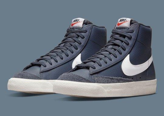 Dark Navy Leathers Make Up This Crisp Nike Blazer Mid '77