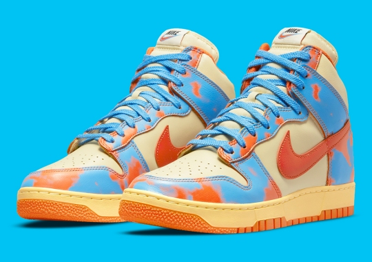 """The Nike Dunk High 1985 """"Acid Wash"""" Appears In Orange And Blue"""