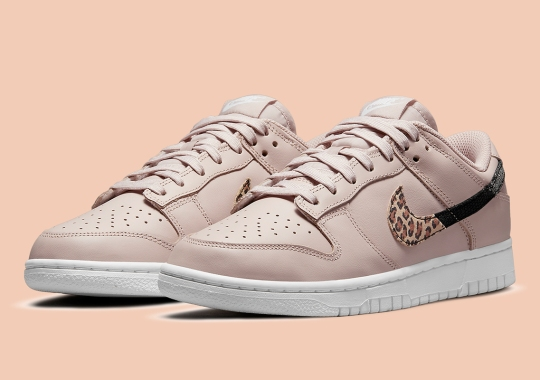 """A Third Nike Dunk Low """"Animal Swoosh"""" Appears In Dusty Pink"""