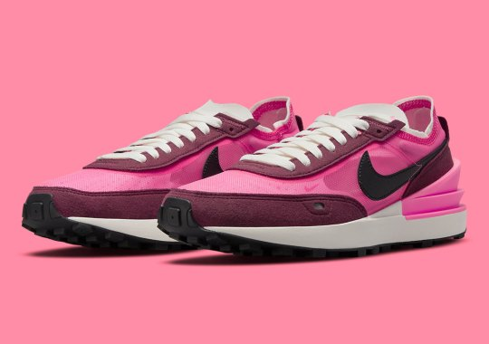 The Nike Waffle One Displays Its Clean Two-Toned Colorblocking In Pink