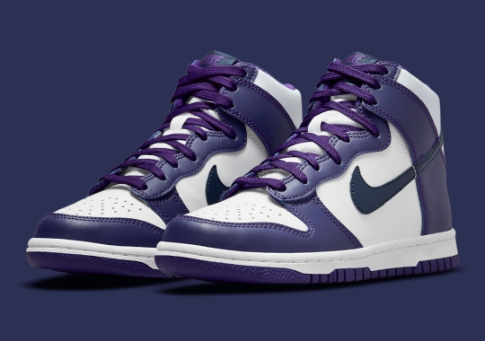 """Navy And """"Court Purple"""" Land On The Nike Dunk High"""