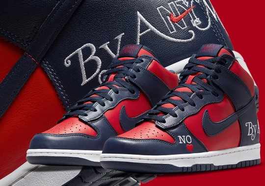 """Official Images Of The Supreme x Nike SB Dunk High """"By Any Means"""" In Navy/Red"""