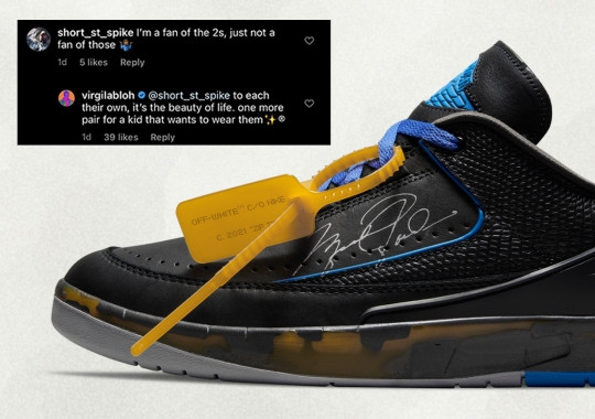 Virgil Abloh Responds To Comments And Criticisms On His Off-White x Air Jordan 2