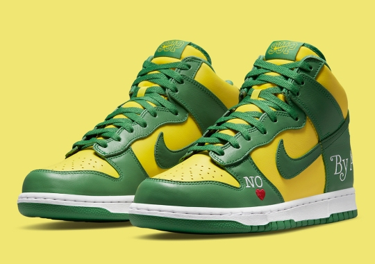 """Supreme Imitates The """"Brazil"""" Colorway For Their Third Nike SB Dunk High """"By Any Means"""""""