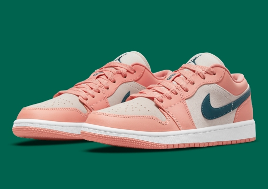 """""""Light Madder Root"""" Combines With Dark Teal On This Air Jordan 1 Low"""